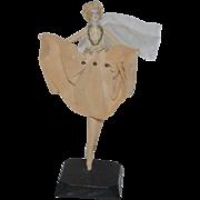 Wonderful Old Doll Miniature Cloth Doll Porcelain Head Fancy Ballerina
