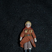 Antique Doll All Bisque Fancy Boots Miniature Dollhouse Man Doll Jointed