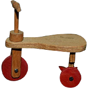 Vintage Doll Miniature Dollhouse Wood Artist Made Doll Scooter Tricycle Works C. Anderson 1974