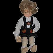 "Vintage Doll German Artist Doll Weihnachts Pupppen Cloth Doll By Gabriele Rose West ""Nicholas"""