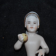 Old Doll China Head Half Doll Dressel & Kister Girl with Apple Bisque