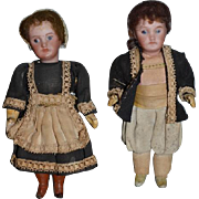 Antique Doll French Dolls Pair Set Original Factory Clothing Dollhouse