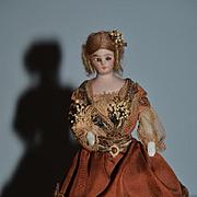 Antique Doll Miniature Bisque Dollhouse Simon & Halbig Doll House Lady Doll Fancy Original Clothing