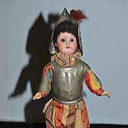 Antique Doll Bisque Head Miniature In Metal Armor Suit Fancy Original Clothing Cabinet Size W/ Tag Roman Guard