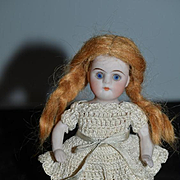 Antique Doll Miniature All Bisque Doll Pink Stockings Dollhouse
