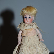 Antique Doll Miniature All Bisque Dollhouse Long Socks and Double Strap Shoes