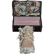 Artist For UFDC Lisette  Carpet Bag Valise W/ Two Bisque Dolls By Cathy Hansen Huge Lot W/ Accessories