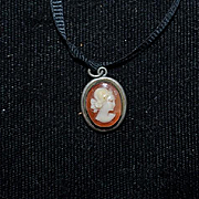 Old Doll Miniature Cameo On Ribbon For Fashion Doll Tiny
