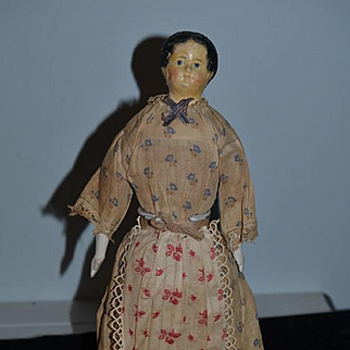 Antique Doll Papier Mache Unusual Hair Style Old Clothing