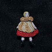 Antique Doll Miniature All Bisque Jointed Crochet Lilliputian China Head Dollhouse