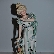 Old Doll Large Bisque Figurine Victorian Lady