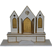 Old Wood Church Alter Miniature Diorama Fancy Stage For Dollhouse Dolls