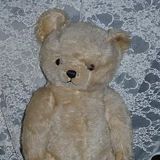 Old Teddy Bear Jointed Glass Eyes Large Mohair
