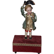 Antique Doll French Bisque Miniature Automaton Marquis WORKING Great Plays Music too! Perfect cabinet size