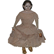 "Antique Doll Large Greiner Papier Mache Fancy Hair Style W/ Paper Label Cloth Doll 31"" Tall"