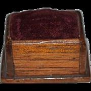 Old Wood Miniature Doll Pincushion Pin Cushion Dollhouse or Fashion Doll Sewing