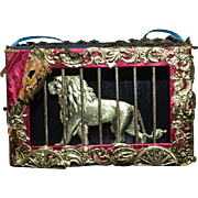 Vintage Doll Unusual Miniature Lion Cage Artist Made Bruce Cato & Numbered