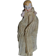 Antique Doll Miniature Bisque Baby Doll All Bisque Dollhouse Original Factory Clothing