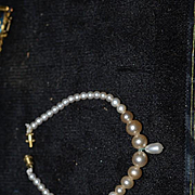 Old Doll Necklace Faux Pearl with Drop