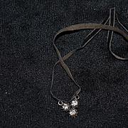 Old Doll Necklace Rhinestone on Velvet Necklace