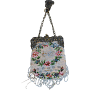 Antique Doll Beaded Purse Chatelaine Cherub Ornate