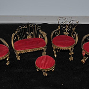 Vintage Doll Miniature Ornate Metal Furniture Dollhouse Folk Art Tin Can