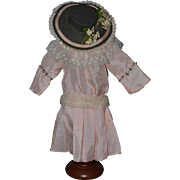 Vintage Doll Dress W/ Hat For Bisque Doll Sweet!!