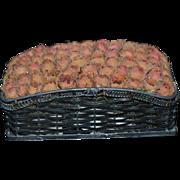 Miniature Woven Metal Basket w/ Roses Dollhouse Sweet!