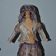 Antique Doll Dress For Fashion Doll Bonnet Skirt Top