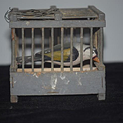 Old French Wood Bird Cage W/ Bird... Miniature Perfect for French Fashion