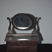 Antique Doll Miniature Wood Chest Swivel Mirror Great For Dolls!