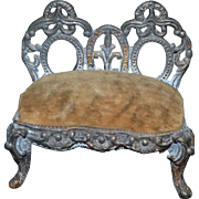 Old Doll Sofa Settee Miniature Dollhouse Metal Ornate Advertising Pincushion People's Outfitting Company