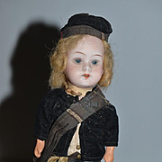 Antique Doll Miniature Bisque Original Factory Clothing Sweet!
