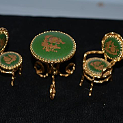Wonderful Miniature Doll Parlor Porcelain Limoges Set Table Arm Chair and Parlor Chair