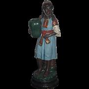 Old B.Bloch Pottery Blackamoor Figurine Vase Majolica Black Girl