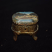 Antique Doll Miniature Casket Jewelry Box Gilt Glass Top On Legs For Fashion Doll Dollhouse Hinged