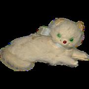 Old Doll Miniature Cat Kitten Fur Glass Eyes TINY Dollhouse Relaxing Cat w/ Bow Dollhouse