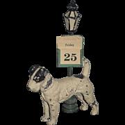 Old German Cast Iron Miniature Dog W/ Light Post and Calendar  Dollhouse Terrier Statue Figurine