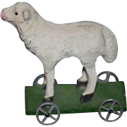 Wonderful Miniature Papier Mache Lamb on Wheels Pull Toy For Doll  Dollhouse Artist Made