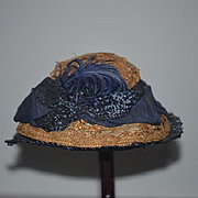 Old Straw Hat W/ Ribbon Feathers and Silk Doll Hat Fancy