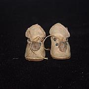 Antique Doll Shoes Fancy W/ Pom Pom's