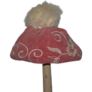 Old Doll Hat Velvet with Fancy Design and Fur Ball on Top