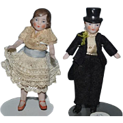 Old Doll All bisque Miniature Dollhouse Bride & Groom Jointed