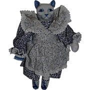 Vintage Doll Cat Blue Delft Jointed Legs and China Head, Shoes and Miniature Iron Cloth Doll