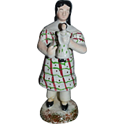 Old Staffordshire Figurine Girl Holding Doll Sweet  Pottery