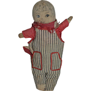 Old Doll Cloth Doll Drawn on Features Sweet Dressed Unusual