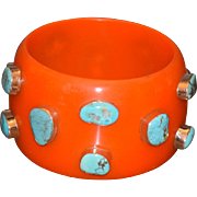 Vintage Funky Chunky Cuff Bracelet w/ Turquoise Stones set in Silver