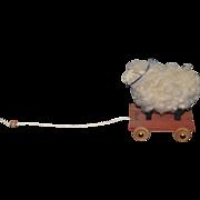 Wonderful Artist Sheep On Wheels Wood Base Miniature For Doll Viva Les BeBe Signed MB Pull Toy Dollhouse