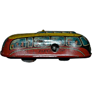 Old Miniature Wind Up French Train Fleche D' OR Tin Litho Bus Penny Toy