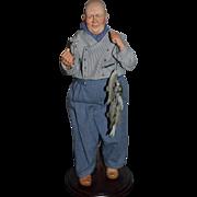 Wonderful Artist Doll Porcelain Fisherman Character W/ Fish Limited Edition W/ Ribbon Winner Pieter By